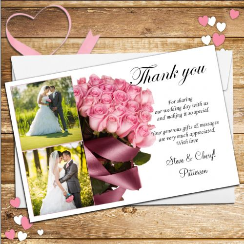10 Personalised Pink Roses Wedding Thank you PHOTO Cards N171